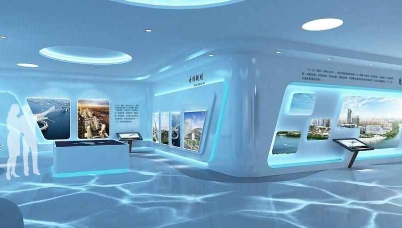 多媒体企业展厅装修设计施工效果图